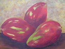 still life of 3 red mangos by artist Jeanie Watson