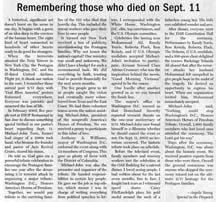 Scan of september 11 newspaper article by writer Angela Young