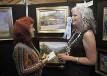 Plein air artist Lori Putnam with writer Angela Young