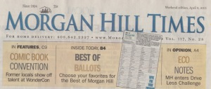 Headline banner in the Morgan Hill Times advertising an article by writer Angela Young
