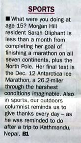 Scan of a front page teaser about an article about Sarah Oliphant by writer Angela Young
