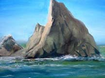 Painting of a seascape at Martins beach by artist Angie Young