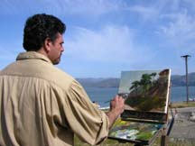 Artist Stefan Baumann painting in San Fransisco by Angela Young