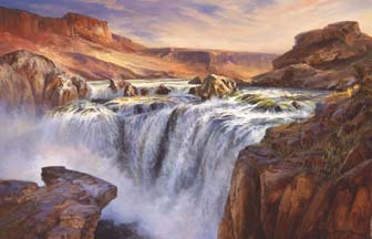 Painting of Shoshone Falls by Stefan Baumann