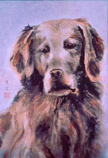 Painting of a dog by Wendy Lee