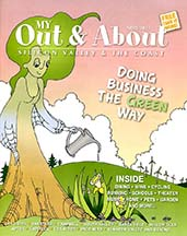 Cover of Out & About the Valley magazine with an article by writer Angela Young