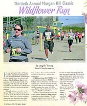 Page 1 of an article in out & about by writer Angela Young